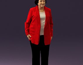 3D print model Old woman in red jacket 0449