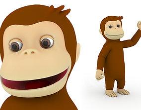 Cartoon Monkey Character 3D model rigged