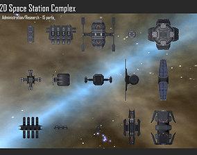 3D 2D Space Station Complex