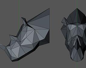 low poly head of a rhinoceros 3D print model