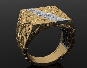 3D print model men ring cobblestone design
