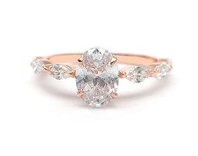 3DM Oval cut diamond wedding ring