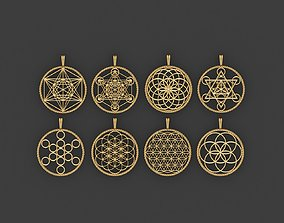 Collection of esoteric pendants 3D model