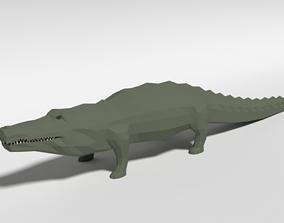 Low Poly Cartoon Crocodile 3D model