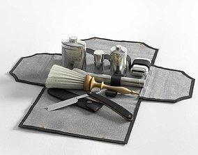 Victorian Mens Grooming Shaving Kit and Straight Razor 3D