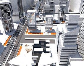 3D asset Lowpoly Future City