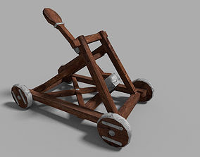 3D asset low poly medieval catapult