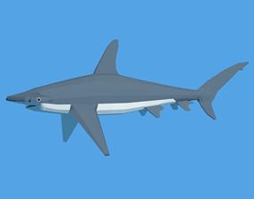 Low Poly Cartoon Hammerhead Shark 3D model