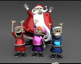 3D maya Santa Claus with Elves