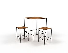 table and stools 3D asset