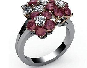 Flower ring Diamond Engagement 3D printable model 3