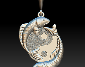 3D printable model Ying and yang fish pendant