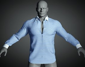 3D model Long sleeve shirt with open collar in blue white