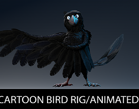 3D asset Crow bird Cartoon animated and rigged character