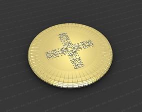 Cross Medallion 3D printable model gold