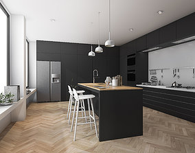 Modern kitchen and dining room with wood floor 3D model