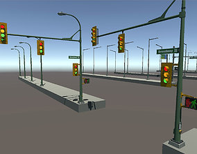 3D asset low-poly Low Poly Traffic Lights