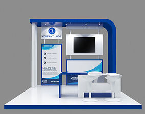 Booth Design 3x3 Blue and poster templete 3D model