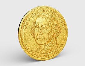 PBR Gold Coin - President George Washington 3D asset