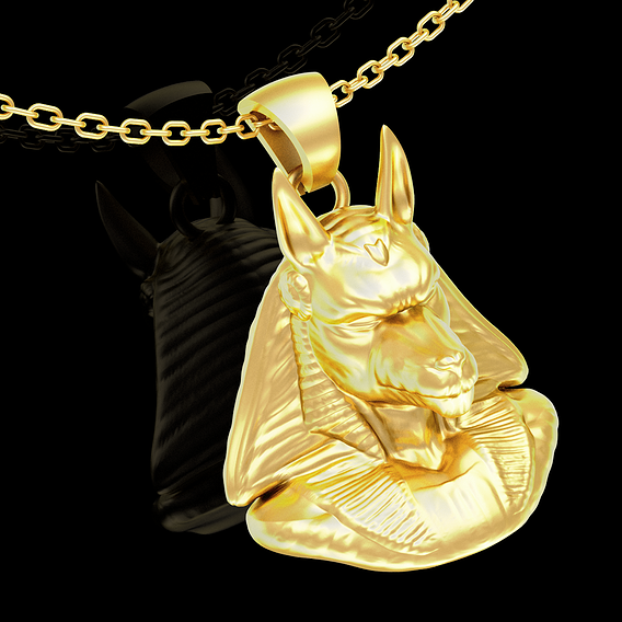 Anubis bust Egyptian symbol pendant jewelry gold necklace 3D print model