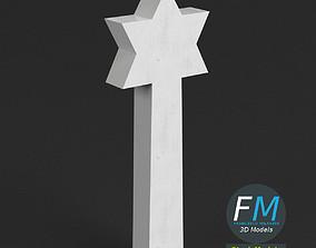 3D model War memorial gravestone - Star of David