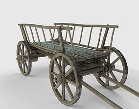 3D asset Old wooden cart low poly model