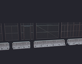 Fence military 3D asset low-poly