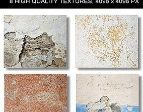 3D model 8 x Different High Quality PBR Old Wall