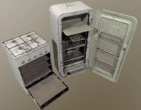 Rusty Fridge and Stove 3D asset