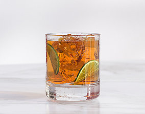 3D A glass of tea with lime slice nad ice cubes