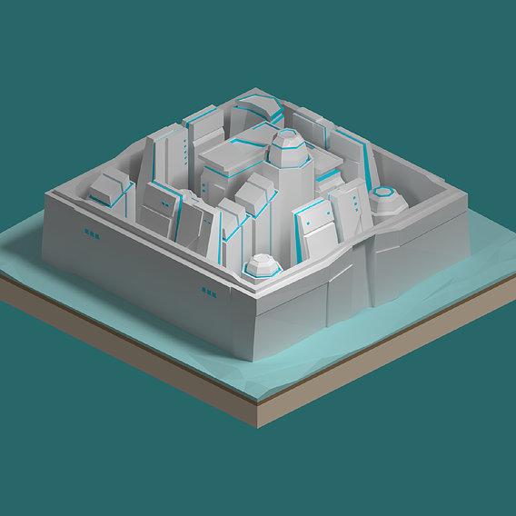Sci-fi isometric city SET