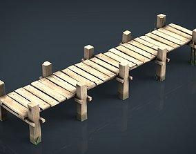 Wooden Pier 3D asset game-ready