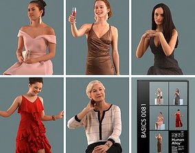 Set of 3D women in a gala and restaurant