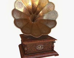3D model low-poly PBR gramophone