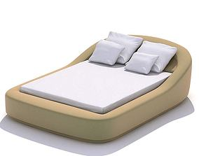 Tan Rounded Double Bed 3D