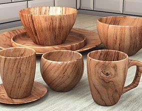 3D model wooden dish set