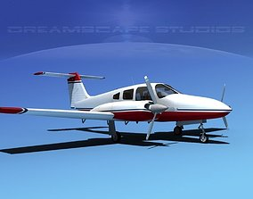 3D model rigged Piper PA-44-180 Seminole V07