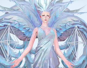 VR / AR ready Polygon Art White Angel A Women 3d Model