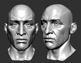 Male head sculpt human anatomy fantasy futuristic 3D