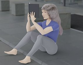 3D model girl with book