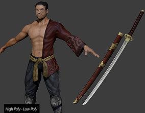Samurai Katana - High Poly - Low Poly 3D asset