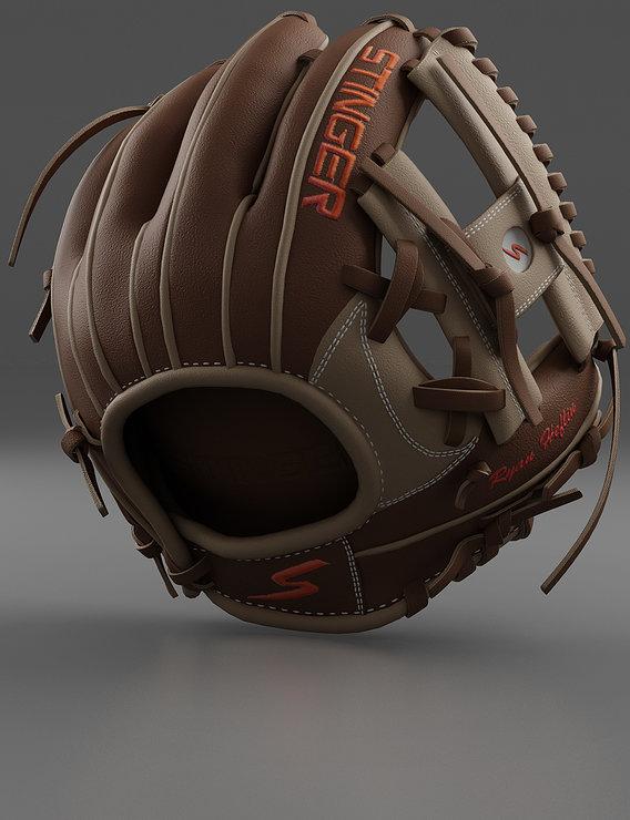 Baseball Glove Brown Render