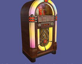 Classic Vintage Wooden Jukebox Rockola 3D asset game-ready