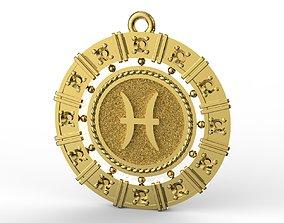 Pisces zodiac pendant 3D print model