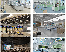 Collection of Phone Shops Laboratories Conference 3D model
