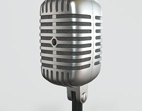 studio metallic Vintage Microphone 3D