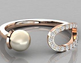 Women solitaire pearl ring 3dm render detail engagement