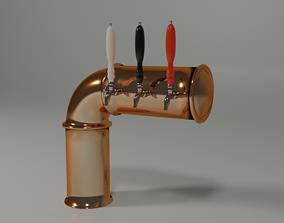 3D Brass Beer Draught Tower