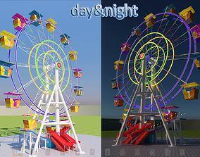 festival 3D model Ferris wheel day and night
