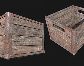 Low Poly PBR Wood Dairy Crate 3D model